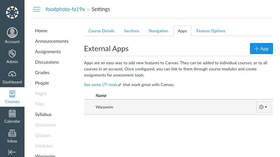 'Apps' tab of Settings section within Canvas