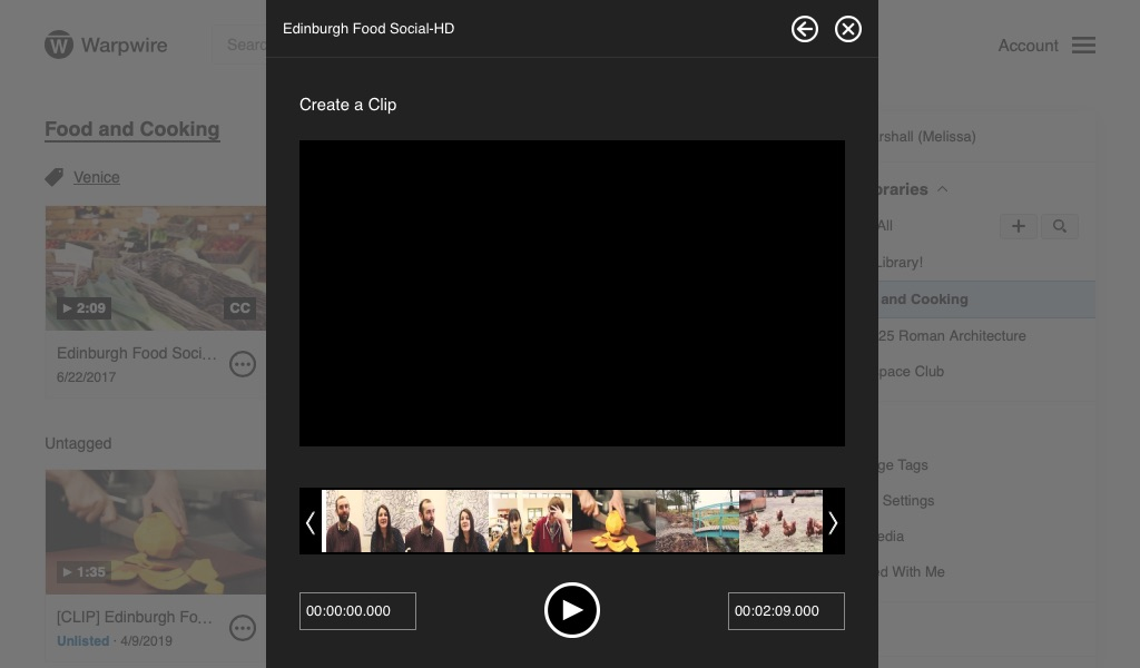 Create a clip interface prompting user to create new clip from original media