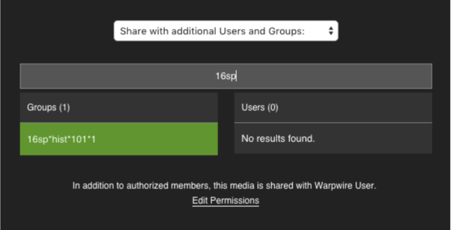 Group sharing within the Warpwire media platform