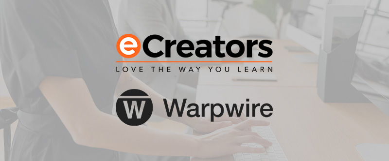 Background of hands typing with eCreators and Warpwire video platform logos on top
