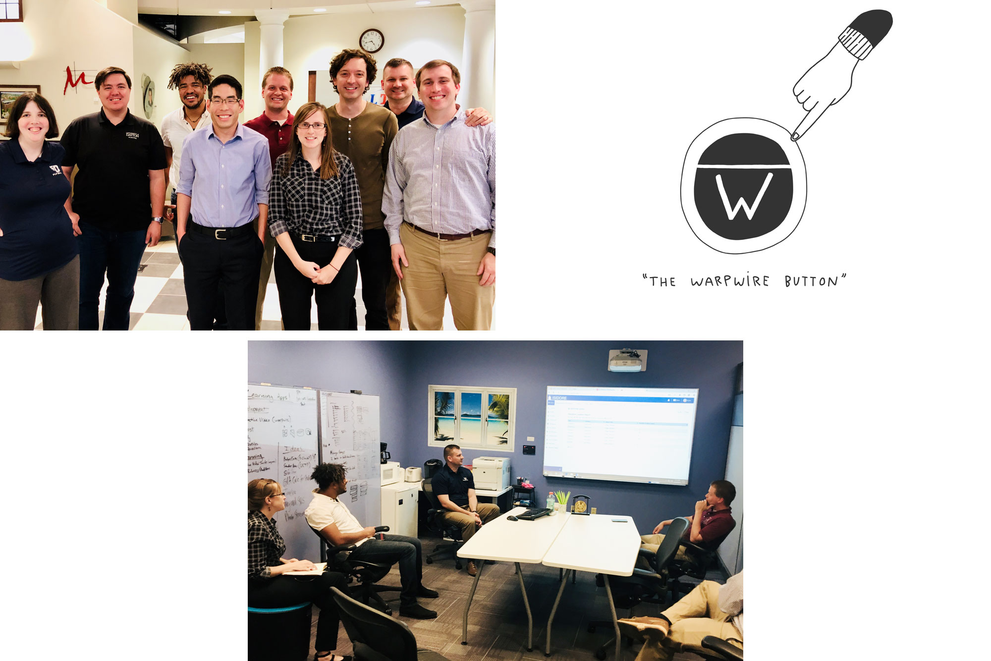 Photographs of the Warpwire team visiting the University of Dayton and a Warpwire button graphic