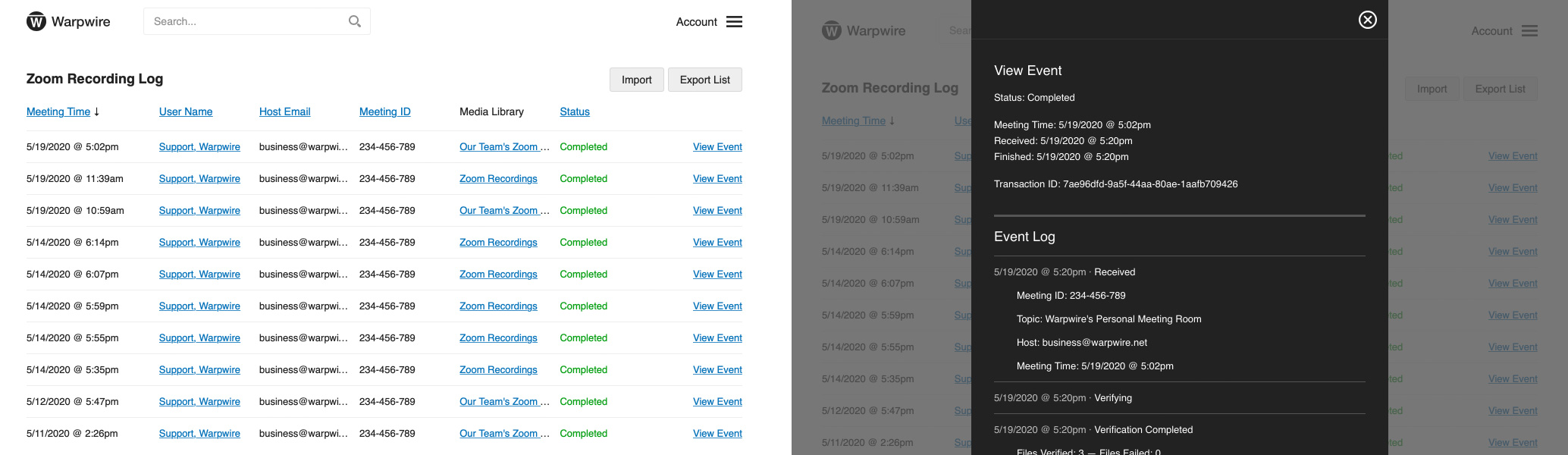 The Admin Tool inside of Warpwire allows Warpwire Admins to view detailed Zoom recording events.