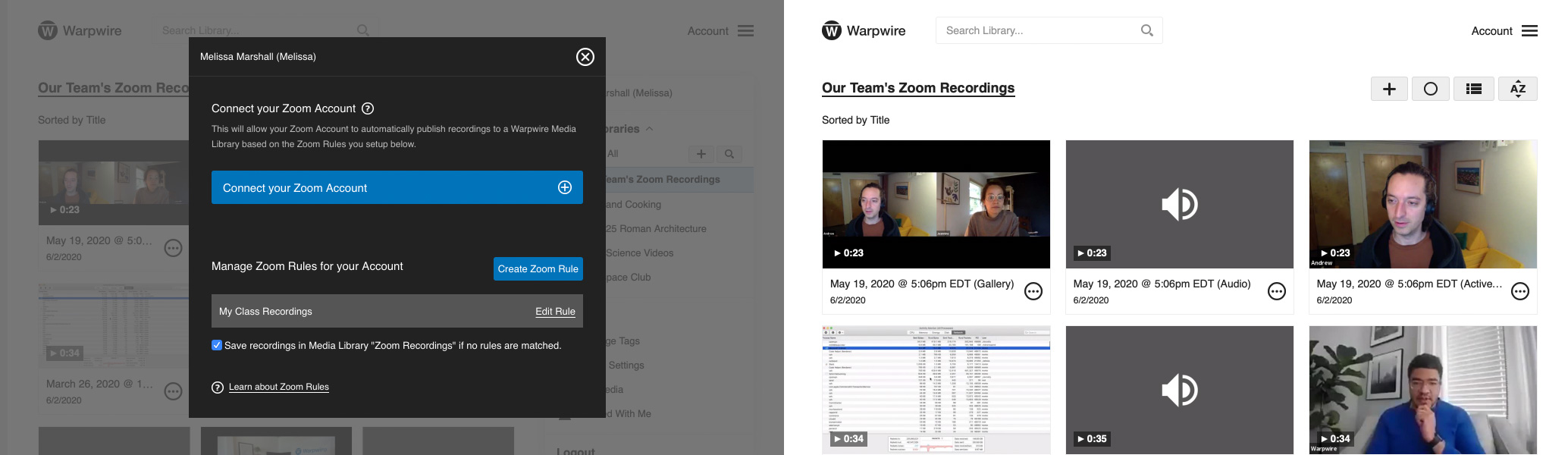 Connect your Zoom account directly to Warpwire and automatically save your Zoom recordings to Warpwire.