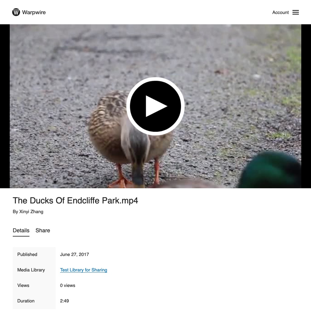 stand-alone page for video of a duck