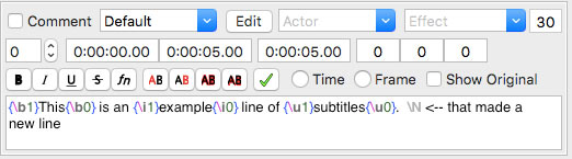 Subtitle text editor, showing associated buttons including a green checkbox