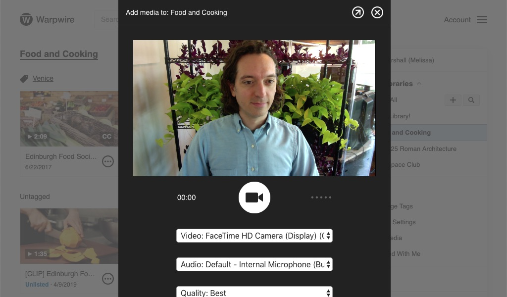 Camera Capture interface, with dropdown menus for Video Source, Audio Source, and Resolution