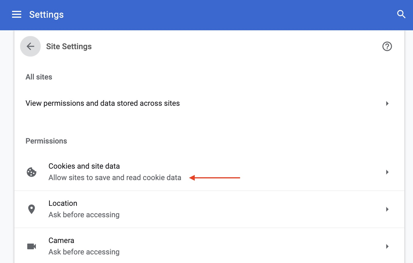 Chrome permission settings