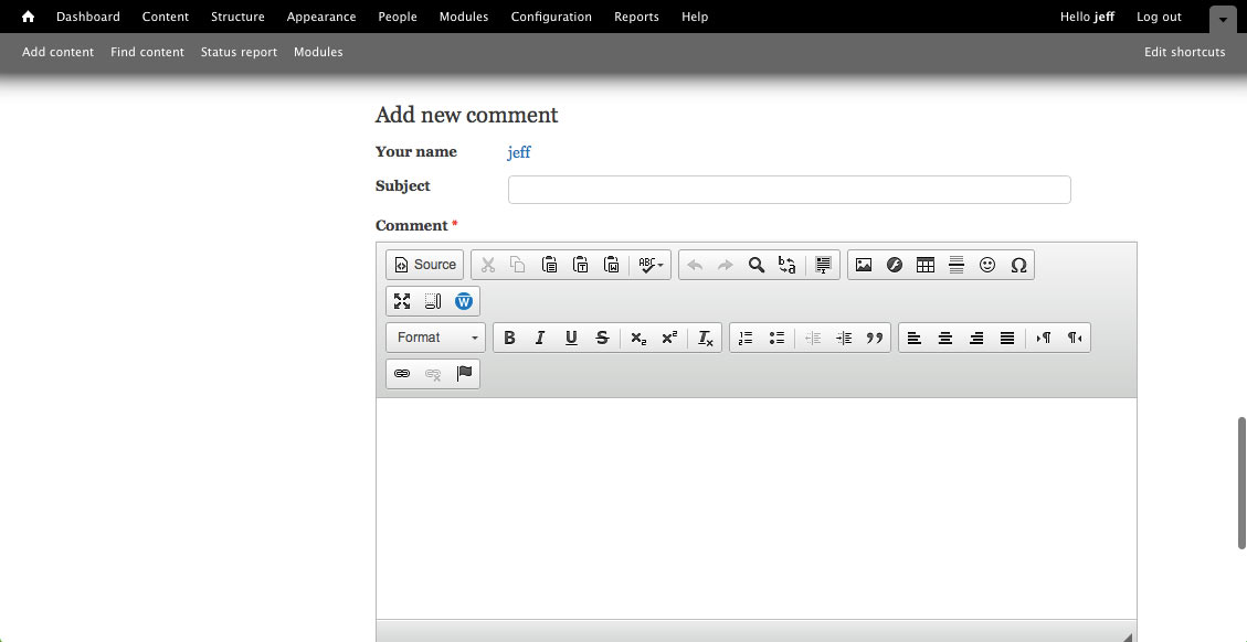 Drupal 'Add new comment' interface