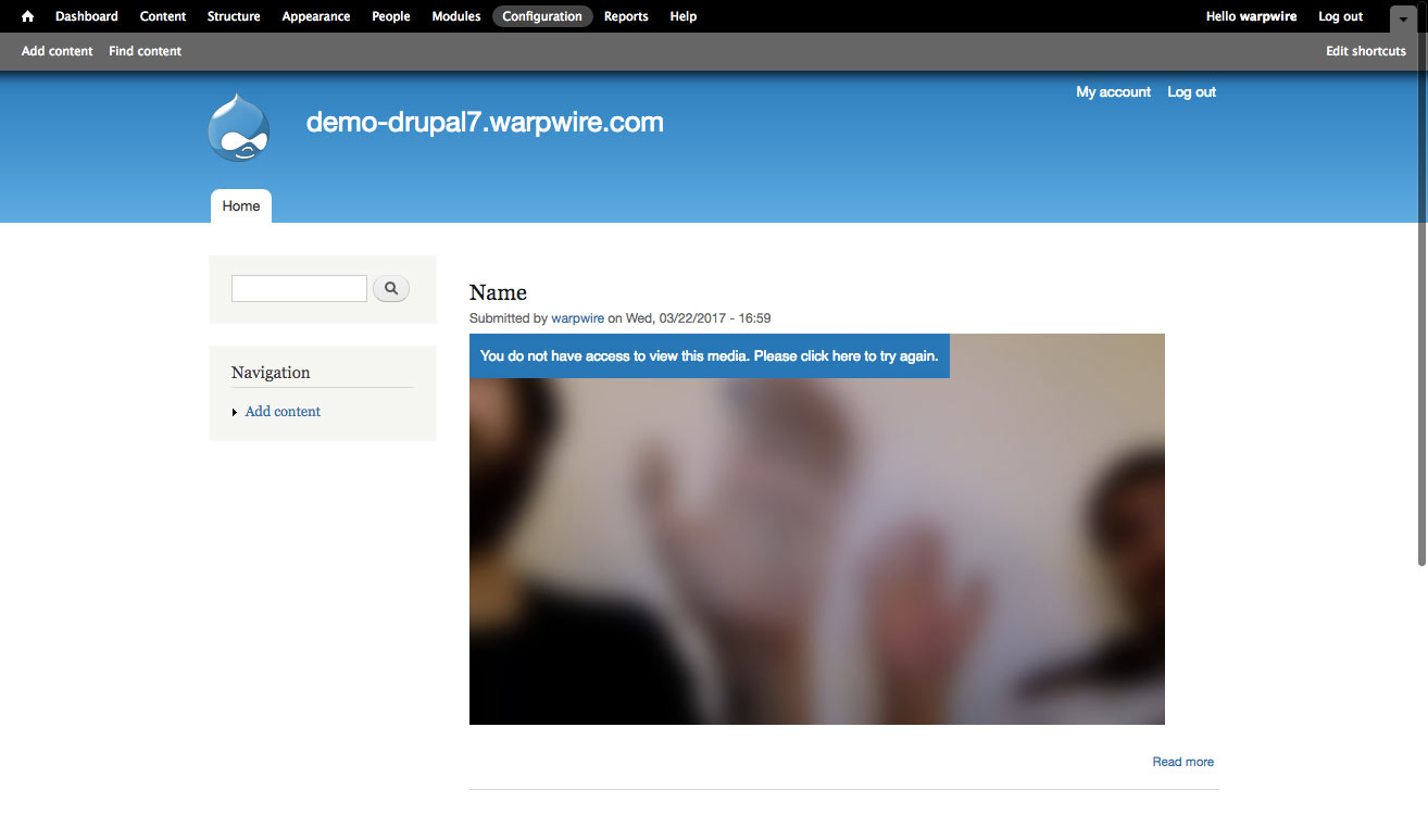 Drupal page with locked Warpwire video, video blurred