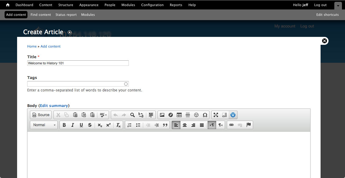 Drupal 'Create Article' page