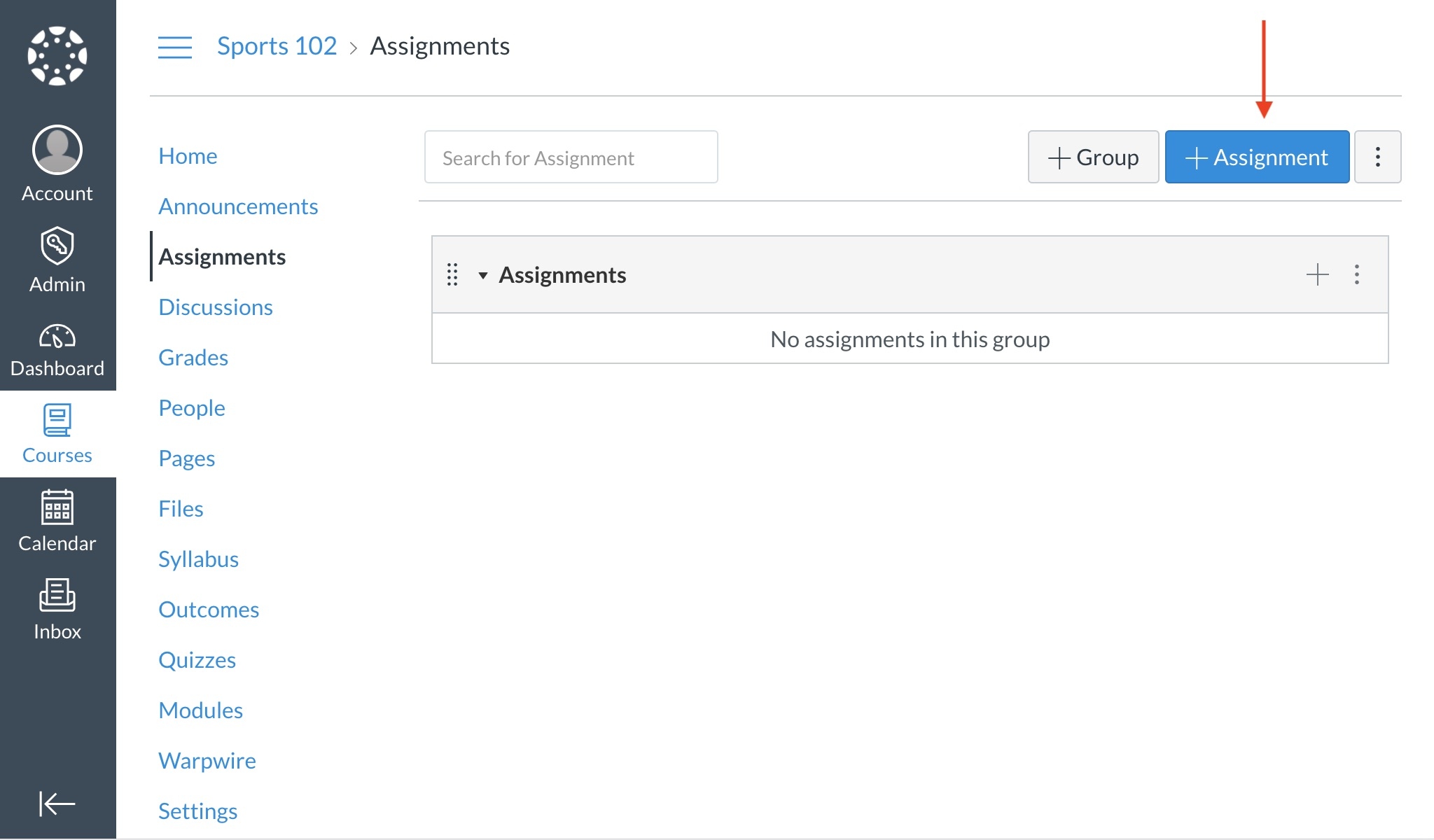 Navigate to the Add Assignment button at the top of your screen.