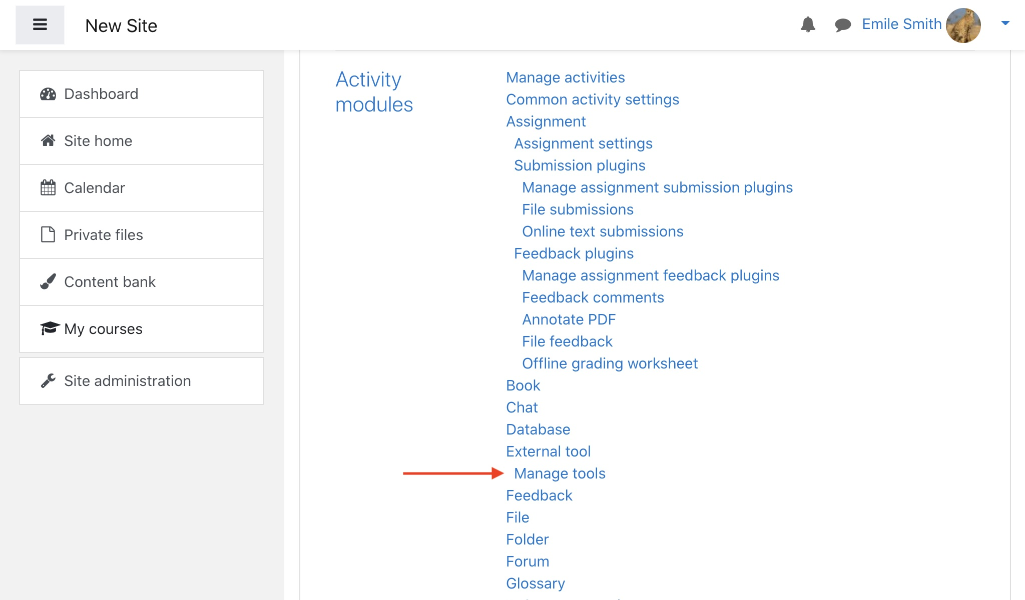 Click Manage tools to continue Gradebook setup in Moodle.