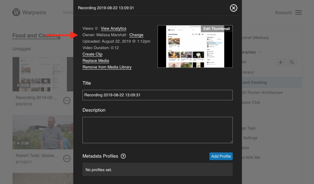 Settings panel for video allowing a user search for asset transfer
