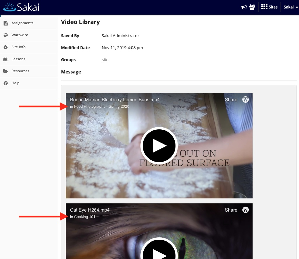 Multiple videos embedded in Sakai announcement post