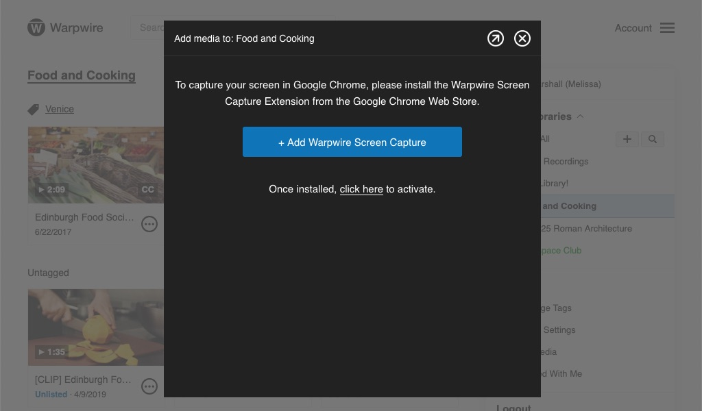 Alert prompting user to install the Warpwire Screen Capture Extension from the Google Chrome Web Store