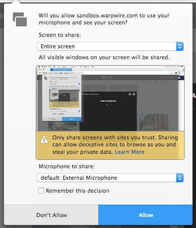 Firefox alert to grant entire screen and microphone access
