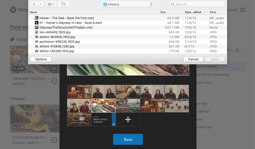 File window to upload a custom thumbnail for video