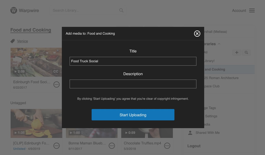 User input fields to provide Title and Description for uploaded asset
