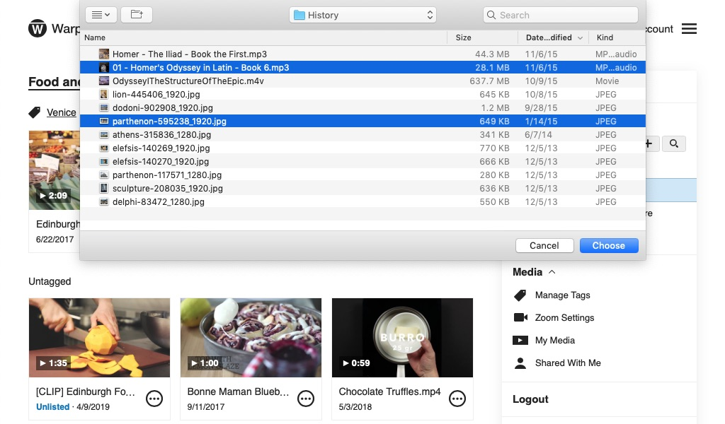 File browser open within the Warpwire media library, with two files selected