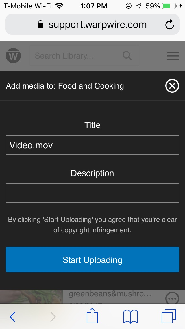 User input field to edit iPhone video, Title and Description before uploading to Warpwire