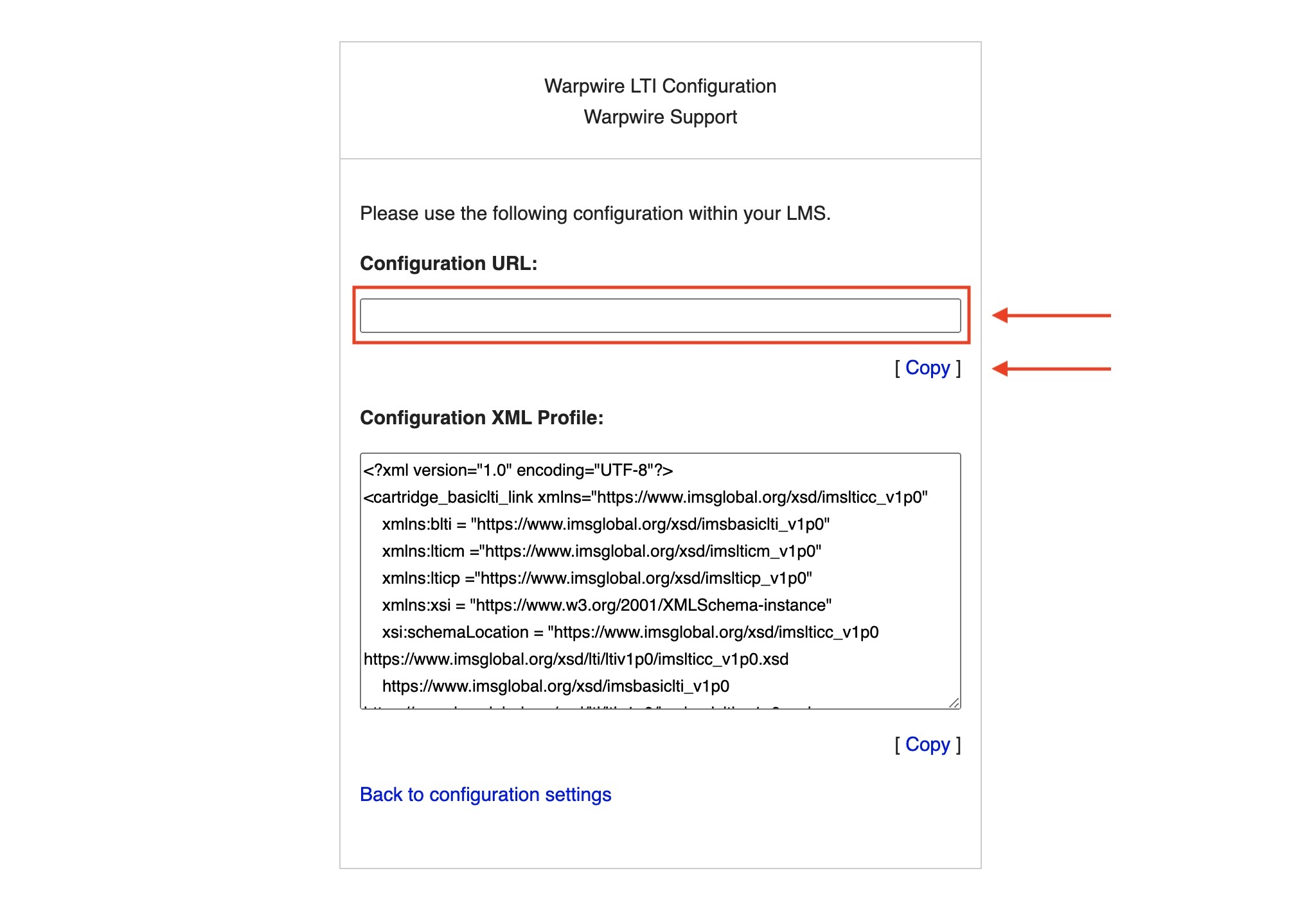 Copy the configuration URL