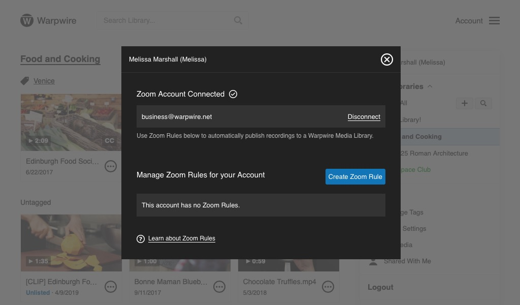 Warpwire Zoom settings window, showing no Zoom rules for current account