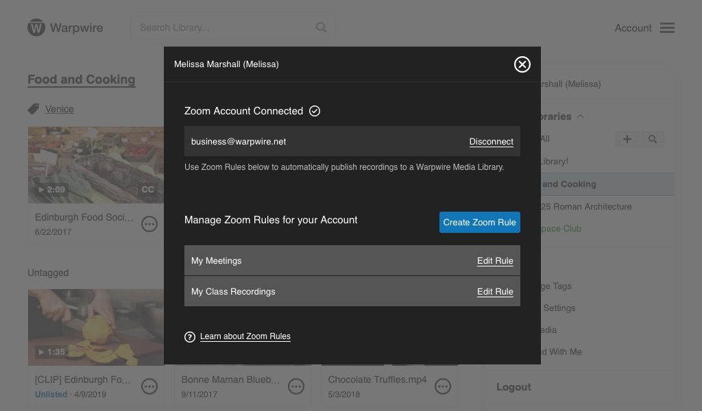 Manage all Zoom recordings in a Warpwire Media Library