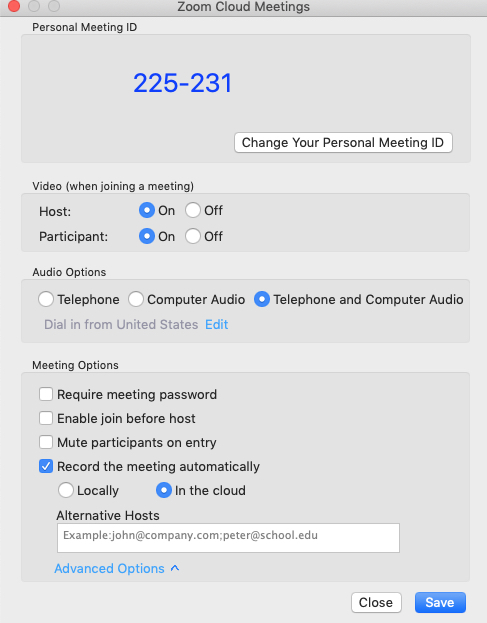 Zoom application meeting settings