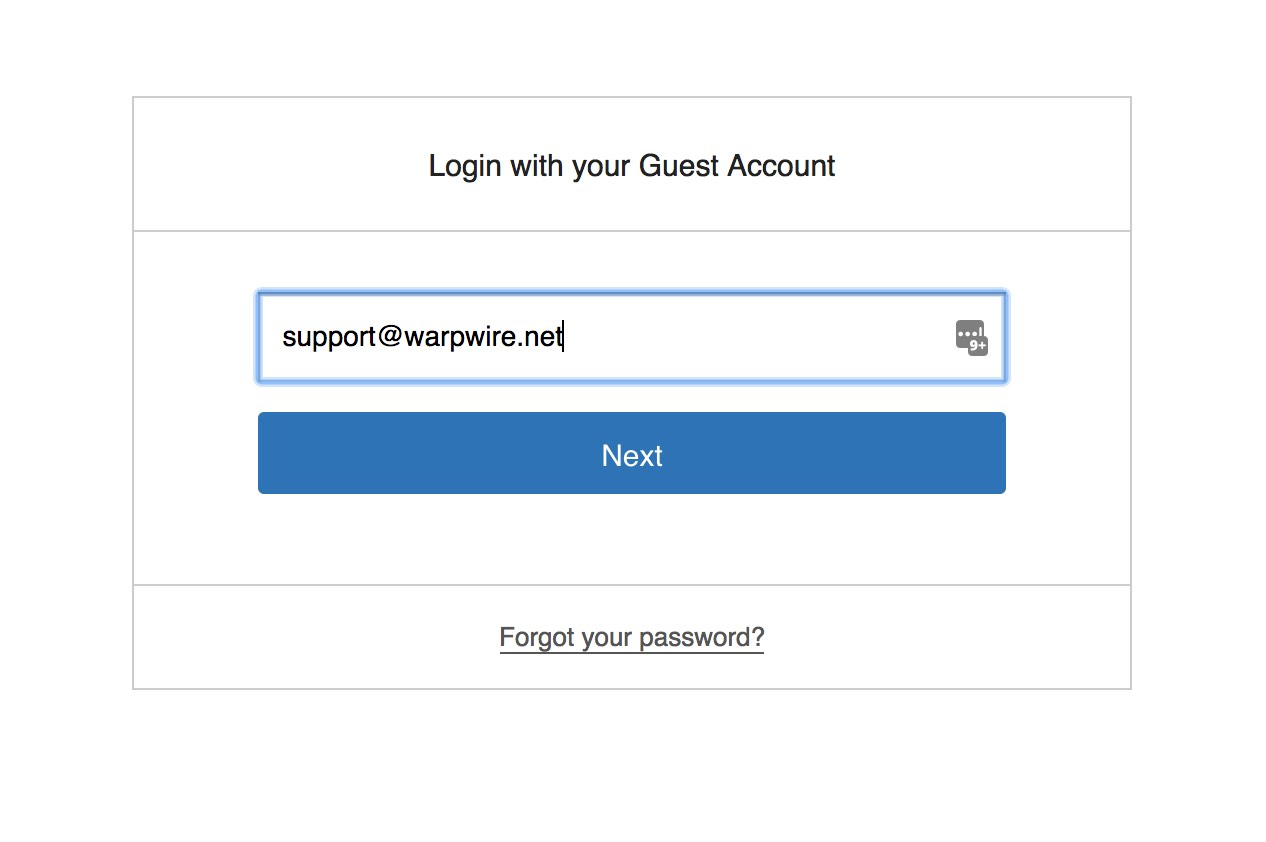 Warpwire login page