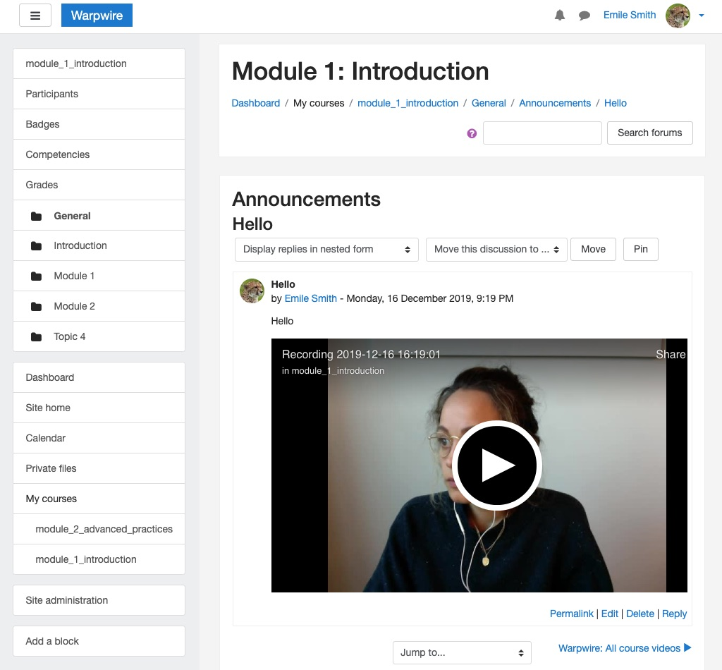 Warpwire video recording embedded in Moodle post