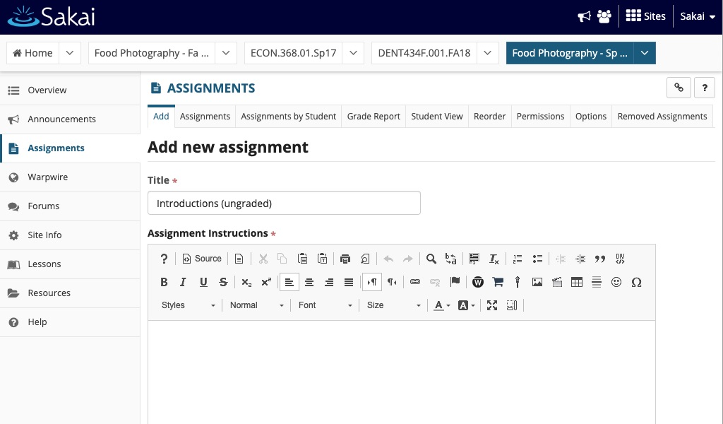 Sakai assignment page text editor