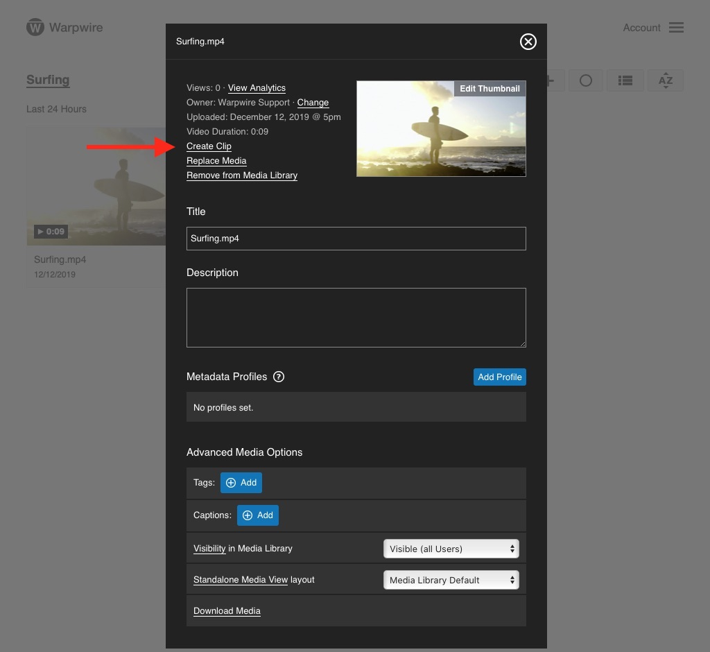 Warpwire media options pane with user input for 'Title' and 'Description'